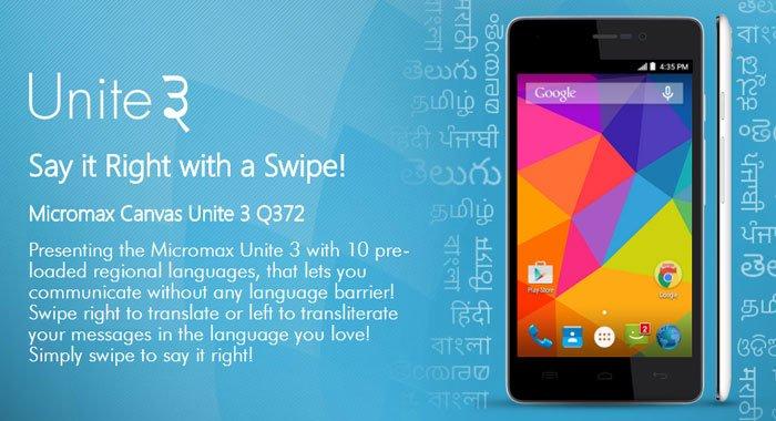 Micromax Unite 3 Q372: A phone having 1 GB RAM, 8 MP camera, and 1.3 GHz Quad core processor