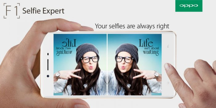 The all new Oppo F1 Mobile with cool selfie features and a shiny smooth surface