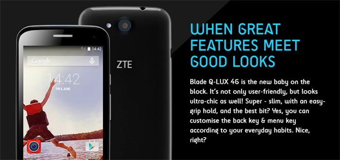 ZTE Blade QLUX 4G: Quadcore handset, Android OS and Dual Sim with 4G support