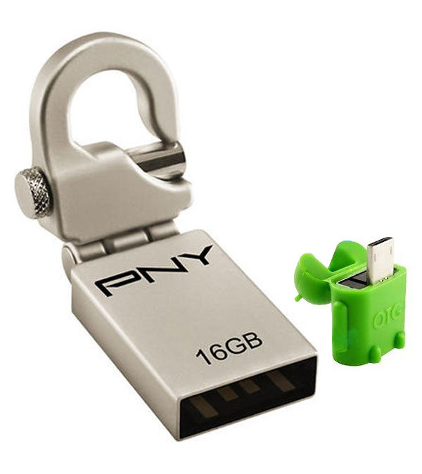 PNY Mini Hook Attache with OTG Adapter 16GB Pen Drive ...